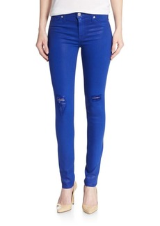 Hudson Coated Mid-Rise Super-Skinny Distressed Jeans