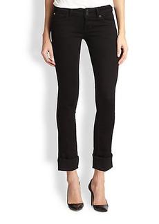 Hudson Cropped Cuffed Straight-Leg Jeans