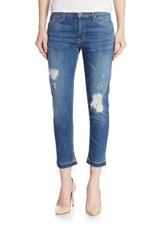 Hudson Distressed Slim Cropped Jeans