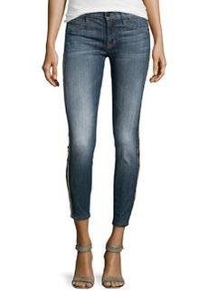 Hudson Embellished Medium-Wash Cropped Jeans, Glam