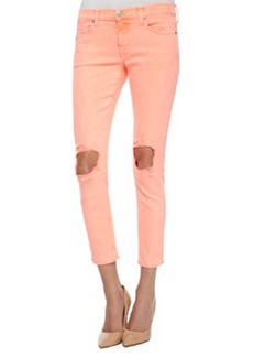 Hudson Finn Distressed Cropped Ankle Jeans, Vivid Orange