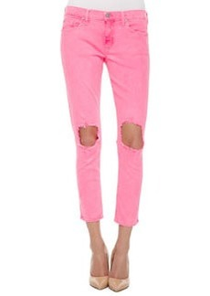 Hudson Finn Distressed Cropped Ankle Jeans, Vivid Pink