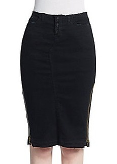Hudson Frayed Denim Pencil Skirt