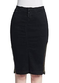 Hudson Frayed Denim Pencil Skirt