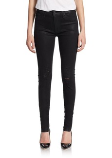 Hudson High-Waisted Distressed Skinny Jeans