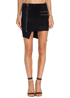 Hudson Jeans Kink Suede Panel Skirt in Black