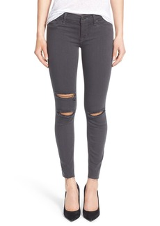 Hudson Jeans 'Krista' Destroyed Crop Skinny Jeans (Chrome Equinox)