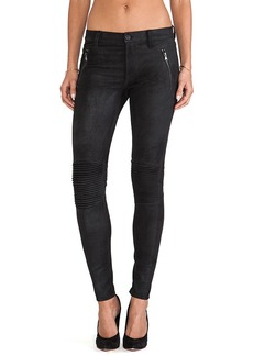 Hudson Jeans Leather Stark Moto in Black