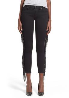 Hudson Jeans 'Luna' Fringe Skinny Crop Jeans (Winter Raven)