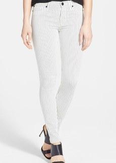 Hudson Jeans Mid Rise Skinny Jeans (Blitzed Black Stripe)