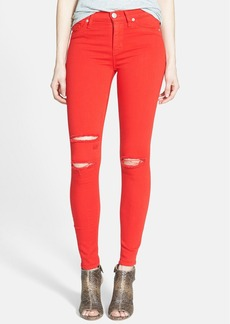 Hudson Jeans 'Nico' Shredded Ankle Jeans (Hot Wire Red)