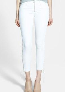 Hudson Jeans 'Raven' Lace Up Crop Jeans (White)