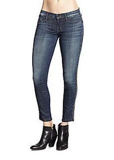 Hudson Luna Beaded Cropped Skinny Jeans