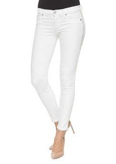 Hudson Luna Metallic-Fringe Ankle Pants, White