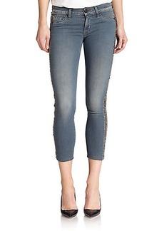 Hudson Luna Stud-Trimmed Cropped Skinny Jeans