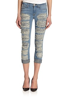 Hudson Melissa Mid-Rise Shredded Cropped Skinny Jeans