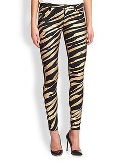 Hudson Metallic Tiger-Print Skinny Jeans