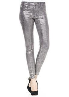 Hudson Nico Metallic Printed Skinny Pants, Silver Snake
