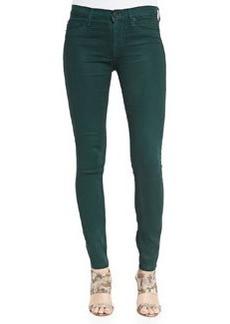 Hudson Nico Metallic Snake-Print Skinny Jeans, Green Envy
