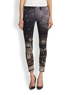 Hudson Nico Paint-Splattered Skinny Jeans