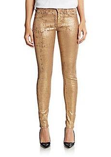 Hudson Nico Snake-Embossed Metallic Skinny Jeans