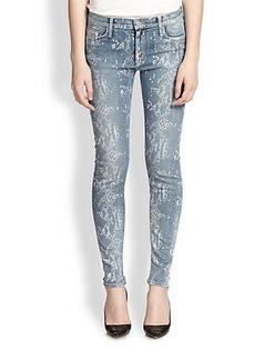 Hudson Nico Snake-Print Super-Skinny Jeans