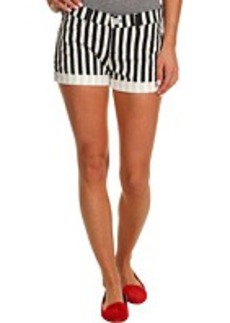 Hudson Nina Cuffed Short in Black White Ladder Strip