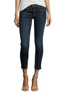 Hudson Perforated-Trim Stretch Jeans, Dark Wash