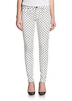 Hudson Polka Dot Mid-Rise Skinny Jeans