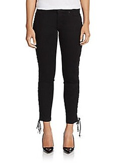 Hudson Raven Lace-Up Cropped Jeans