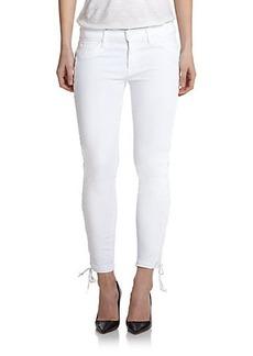 Hudson Raven Lace-Up Cropped Super Skinny Jeans