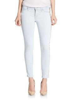 Hudson Sequin Tuxedo Stripe Cropped Super Skinny Jeans