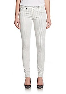 Hudson Striped Mid-Rise Super Skinny Jeans