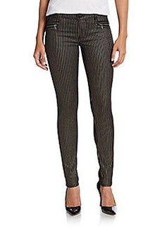 Hudson Striped Zipper-Accent Skinny Jeans