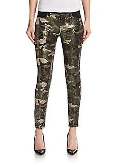 Hudson Super Skinny Sequined Camouflage Cropped Jeans
