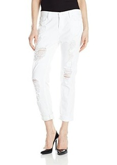 Hudson Women's Leigh Distressed Boyfriend Jean, White Distressed, 28