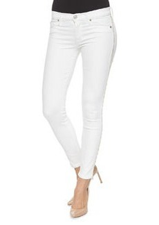 Luna Metallic-Fringe Ankle Pants, White   Luna Metallic-Fringe Ankle Pants, White
