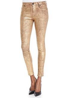 Nico Metallic Snake-Print Skinny Jeans, Second Skin   Nico Metallic Snake-Print Skinny Jeans, Second Skin