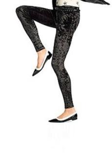 HUE® Black Crushed Velvet Leggings