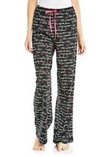 HUE® Black Knit Pants - Flower Script