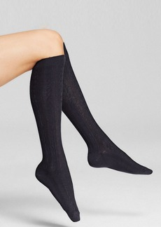HUE Cable Knit Knee Socks