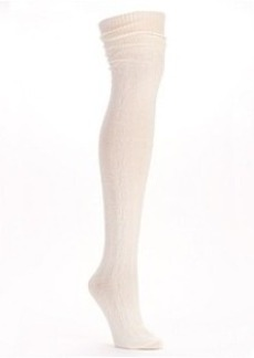 HUE Chunky Cable Knit Over-The-Knee Socks