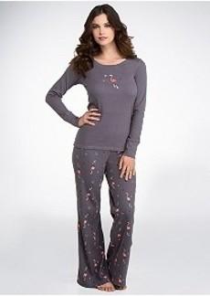 HUE Cozy Up Flamingo Thermal Knit Pajama Set