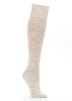HUE Cuffed Tweed Knee High Socks