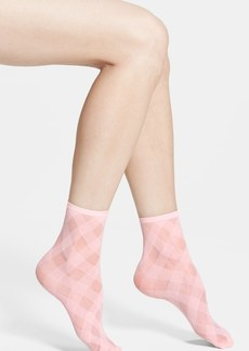 Hue 'Diagonal Ribbon' Sheer Ankle Socks