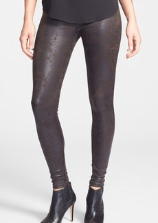 Hue Distressed Faux Leather Leggings