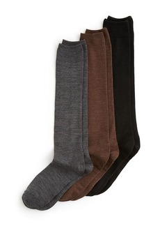 HUE Flat Knit Merino Wool Blend Knee Socks