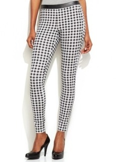 Hue Gingham Sleek Ponte Skimmer with Faux Leather Trim