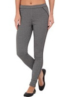 HUE Herringbone Ponte Leggings w/ Leatherette Piping