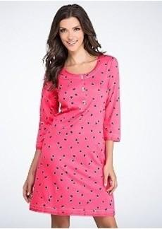 HUE Juliet Dot Knit Henley Sleep Shirt